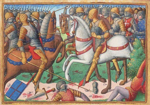 La mort du duc de Clarence lors de la bataille de Vieil-Baugé en 1421.
