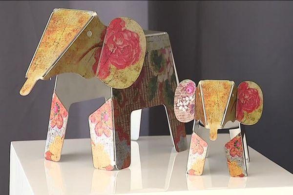 Les petits éléphants en aluminium et en impression numérique de Christine Maffli, créatrice de Valentigney