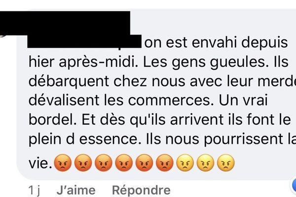 Capture d'écran sur un groupe privé Facebook.