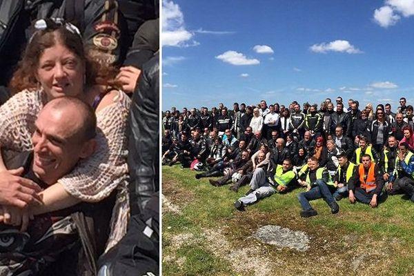 Les amis d'un groupe Facebook de motards célibataires, rassemblés à Glisy pour Aurore et Patrice.