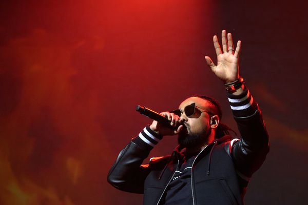 Le rappeur Alonzo lors de son concert au Dôme de Marseille, en 2017.