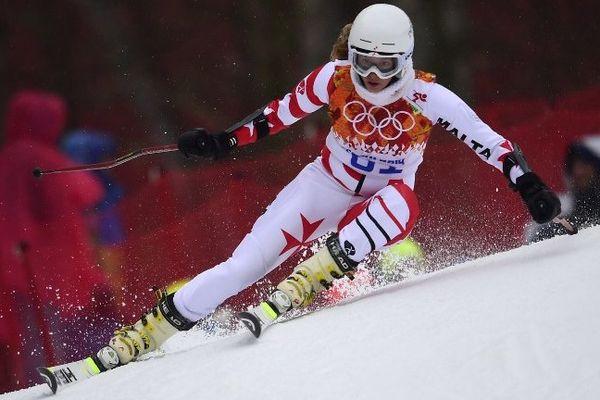 Elise Pellegrin durant la 1ère manche du slalom géant.