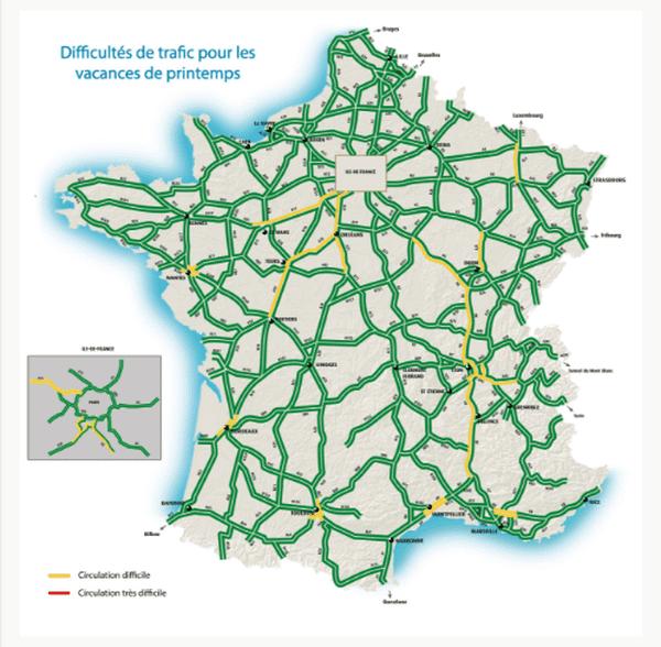Circulation difficile (en jaune) à l'abord des grandes agglo françaises le weekend du 7 au 9 avril.