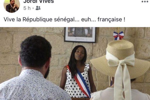 Le post Facebook de Jordi Vives vise l'élue montpelliéraine Titina Dasylva.