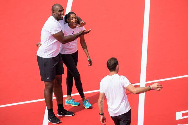 23 juin 2017. Journée olympique pour soutenir la candidature de Paris aux JO de 2024,Teddy Riner et Marie Jose Perec