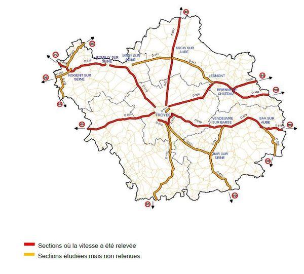 Le détail des routes où la vitesse a été relevée (en rouge) et là où les sections ont été étudiées mais non retenues.