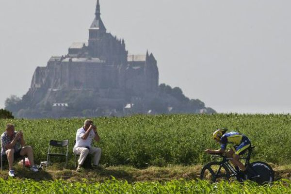 Alberto Contador, le 10 juillet 2013 pour l'étape entre Avranches et le Mont-Saint-Michel.