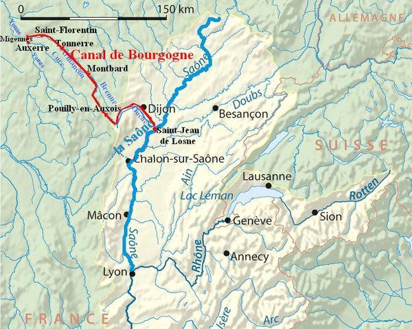 Le Canal de Bourgogne, long de 242 km, relie Migennes (Yonne) à Saint-Jean-de-Losne (Côte-d'Or).