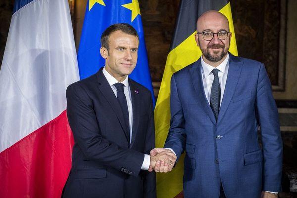 Emmanuel Macron et le Premier ministre belge Charles Michel, le 19 novembre 2018.