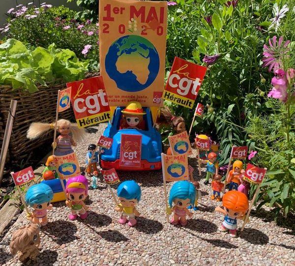 Montpellier - avec humour, la CGT de l'Hérault a organisé son défilé du 1er mai... dans le jardin - 2020.