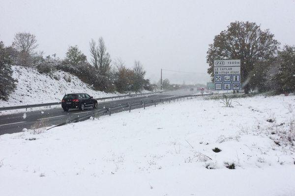 Neige au Caylar dans l'Hérault, autoroute A75 - 28/10/2018
