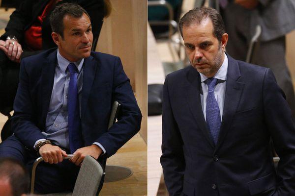 Illustration. Conseil municipal de Marseille, le 4 juillet 2020 à l'espace Bargemon, pour l'élection du nouveau maire. Julien Ravier (à gauche) et Yves Moraine (à droite)