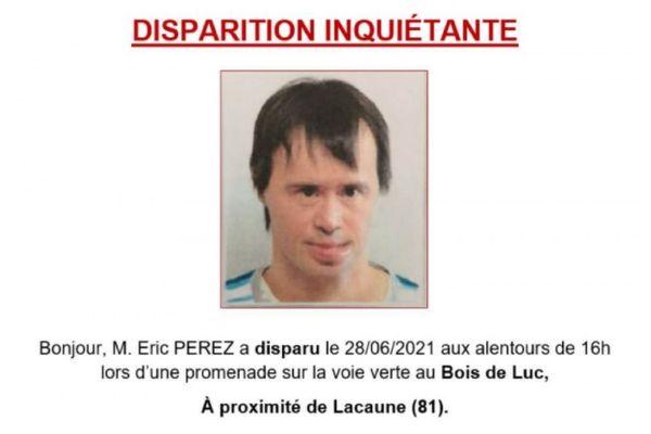 L'appel à témoin lancé par la gendarmerie de Lacaune (Tarn) concernant Eric Perez.