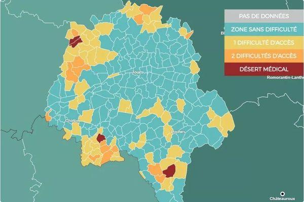 Les déserts médicaux en Indre-et-Loire.