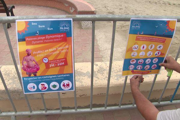 """A Palavas des affiches rappellent tous les 70 mètres les règles de la """"plage dynamique""""."""