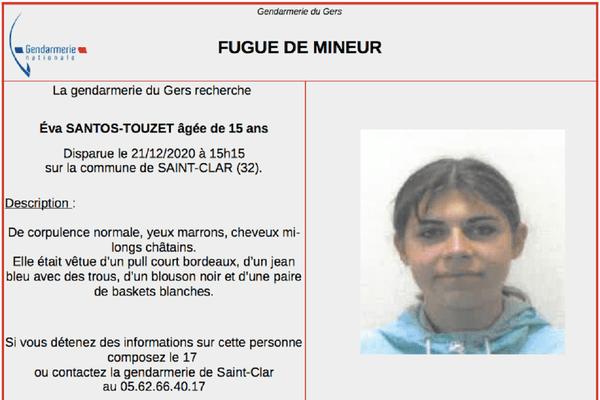 Eva Santos-Touzet a disparu le 21 décembre.