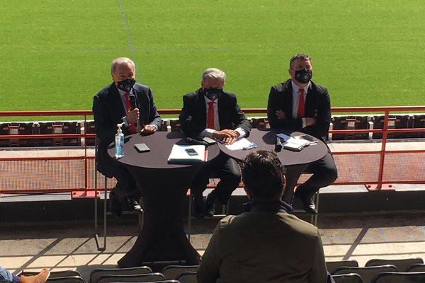 Jean-Luc Moudenc, Etienne Guyot et Didier Lacroix lors de la conférence de presse à Ernest Wallon (Toulouse)
