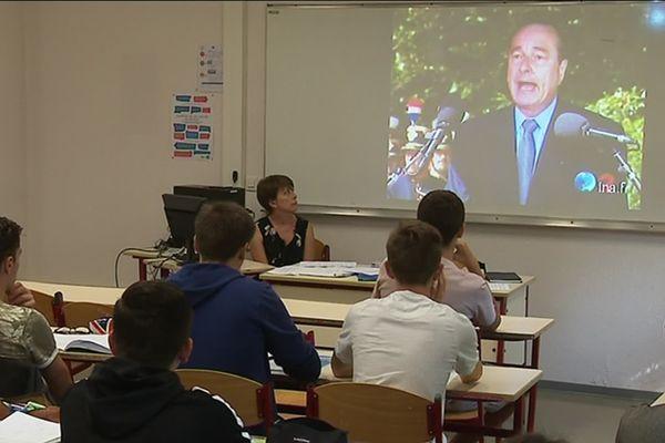 Cours d'Histoire sur Jacques Chirac au lycée Champollion de Lattes (Hérault)