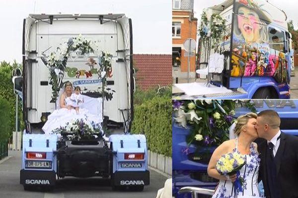 Un camion aux couleurs du carnaval de Dunkerque en guise de carrosse pour la mariée.