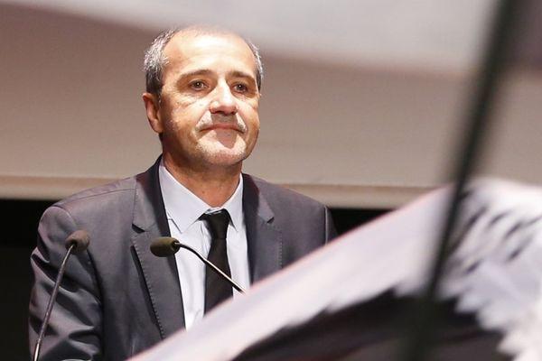 Le leader indépendantiste corse Jean-Guy Talamoni lors d'un meeting de campagne des territoriales de 2017