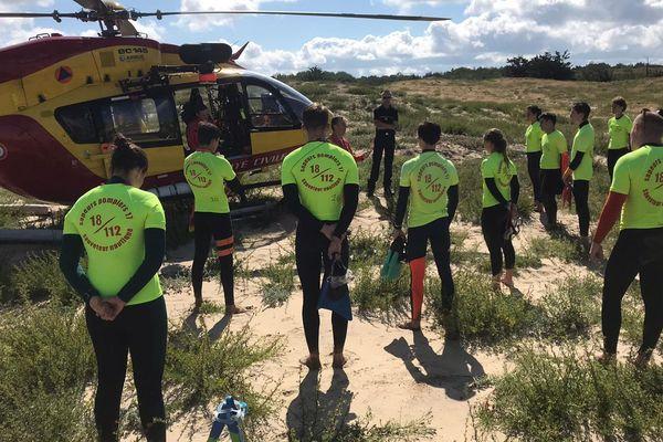 Les jeunes sauveteurs ont été initiés à la prise en charge de victimes par hélicoptère.