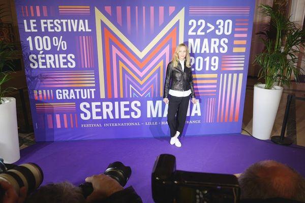 L'actrice américaine Uma Thurman, invitée vedette, de cette 2e édition de Séries Mania à Lille.
