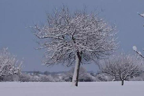 La neige à Bonnétable en Sarthe le 7 février 2018