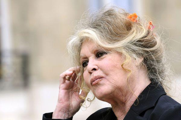 Brigitte Bardot devant l'Elysée en septembre 2007