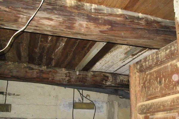 Structure de plancher en bois avec poutres rondes
