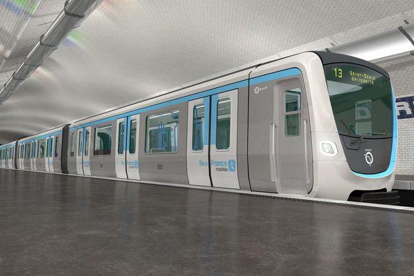 Design non contractuel des futures rames de métro parisien.