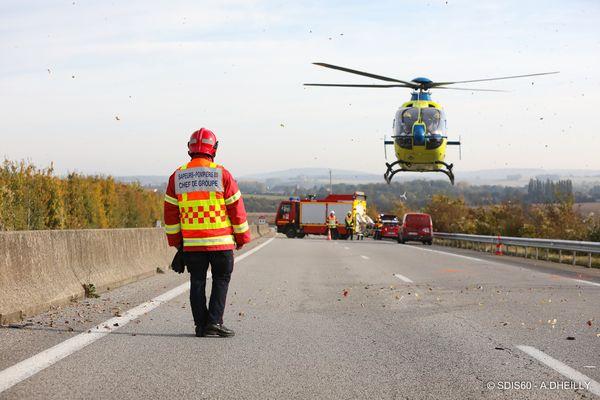 Lundi 18 octobre au matin, une sapeur-pompier de l'Oise a été blessée dans un suraccident sur l'A16.