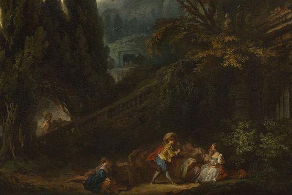"""Voici une partie du """"Jeu de la palette"""", un des tableaux de Jean-Honoré Fragonard découvert dans un château normand."""