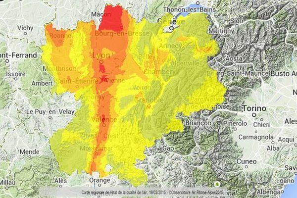 Etat de la qualité de l'air en Rhône Alpes, le 19 mars 2015