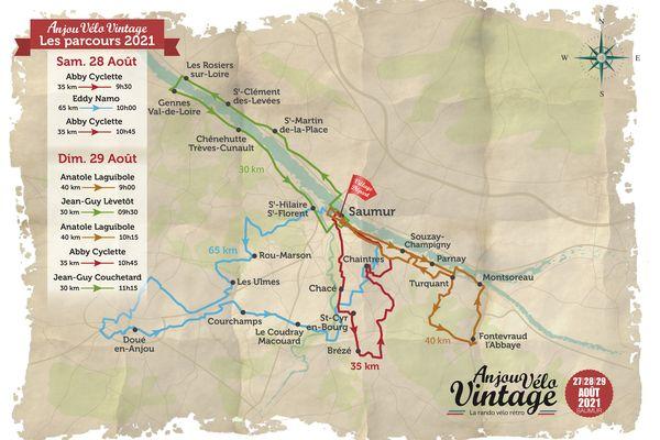 Les parcours proposés au public autour de Saumur par l'Anjou Vélo Vintage en 2021