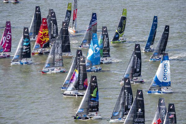 Les bateaux prêts à s'élancer pour la 52e édition de La Solitaire du Figaro, le 22 août 2021