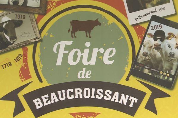 Lunettes de soleil sur le museau et tatouages à l'encolure , la vache de printemps (à droite) était fin prête sur l'affiche de l'année dernière