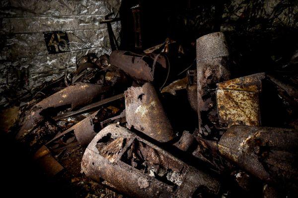 Des restes de fusées V2 dans un tunnel de l'ancien camp de concentration Mittelbau-Dora, à Nordhausen, en Allemagne.