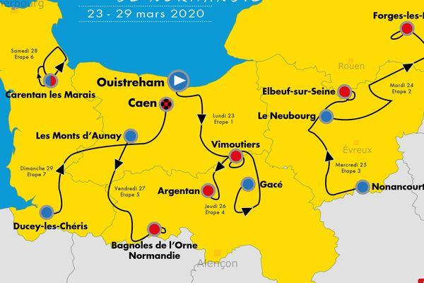 Le parcours du Tour de Normandie 2020 qui sera couru du 23 au 29 mars