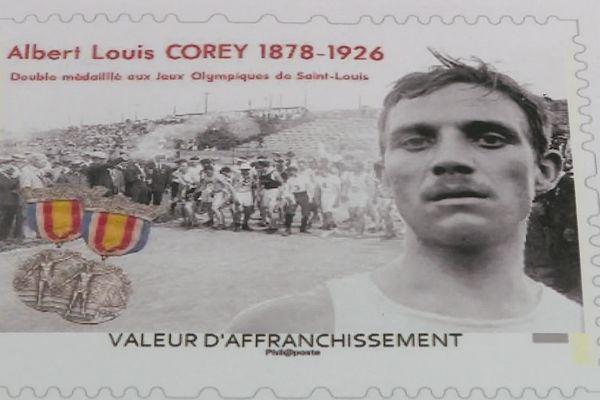 Timbre hommage à Albert Corey, double médaillé aux JO de 1904 de Saint-Louis