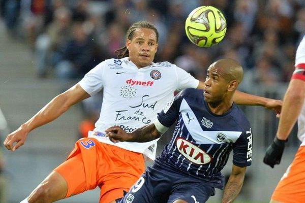 Daniel Congre (Montpellier), Diego Rolan (Bordeaux)- match du 23 mai 2015 au Nouveau Stade