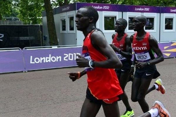 Le trio gagnant sur le marathon de Londres 2012 : Kiprotich,Kirui...et Kiprotich