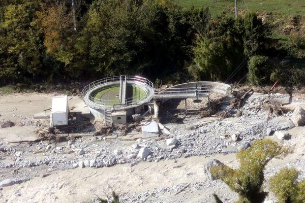 La station d'épuration de Roquebilière détruite après la tempête Alex et photographiée 14 octobre 2020