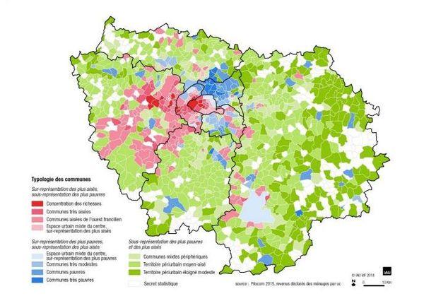 Géographie sociale des Franciliens selon le profil de revenus des ménages en 2015.