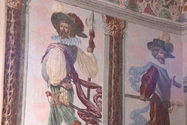 Les fresques du château de Fléchères réalisées par l'artiste toscan Pietro Ricchi au 17e ... un détail de la Chambre de la Parade