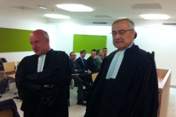 Maître Jean-Paul Martin, avocat de Nathalie Appéré et Maître Pierre Abegg, représentant Bruno Chavanat.