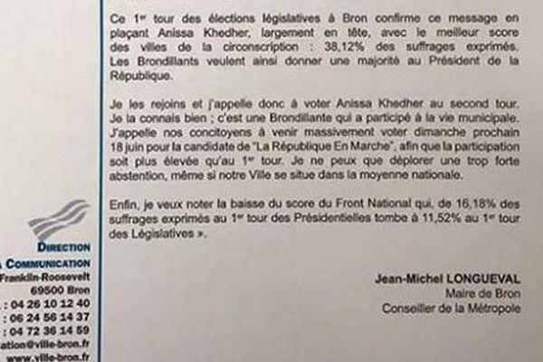 Capture écran appel à voter pour Anissa Kheder du maire de Bron /Page facebook de Jean-Michel Longueval
