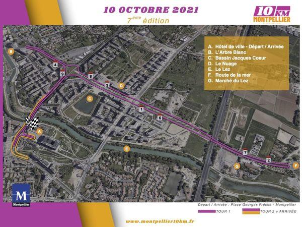 Le parcours emprunté pour les 10 km de Montpellier 2021, le 10 octobre.