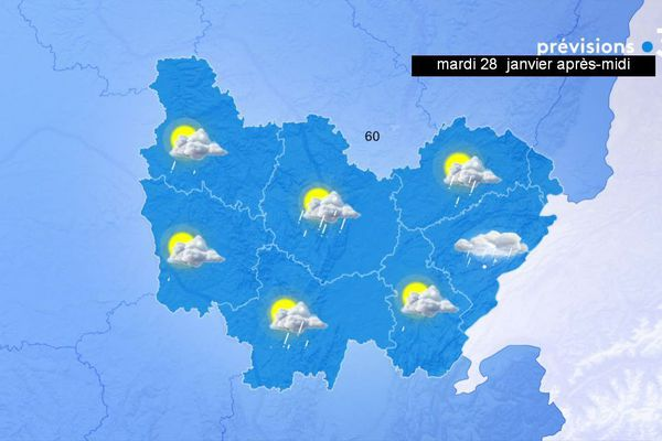 Les prévisions de Météo-France en Bourgogne-Franche-Comté pour l'après-midi du mardi 28 janvier 2020