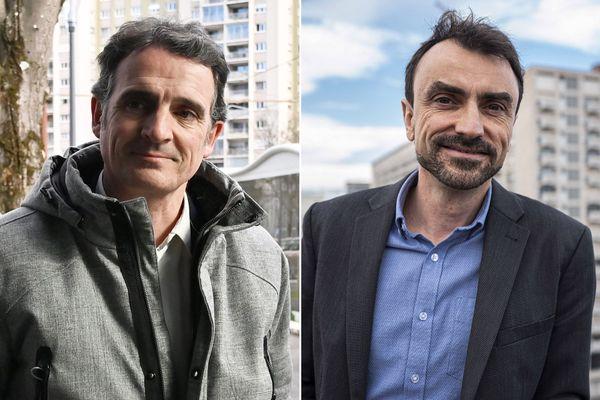 Le  maire de Grenoble Eric Piolle et Gregory Doucet, maire de Lyon.