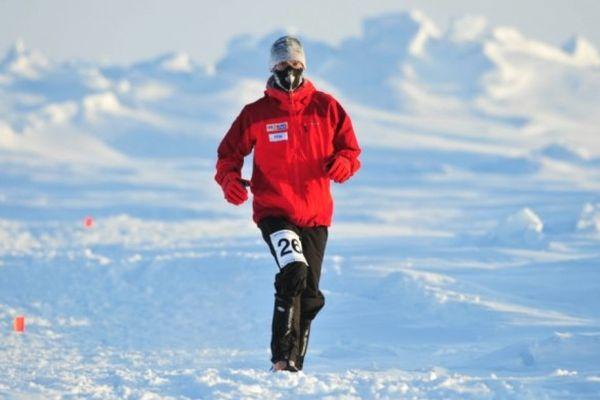 Renaud Michel lors du marathon du pôle nord en 2009